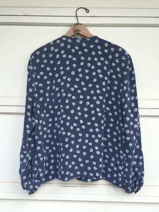 Slate Blue Silk Blouse with Poet Sleeves