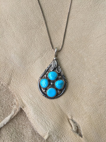 Signed Sleeping Beauty Turquoise Teardrop Pendant Necklace