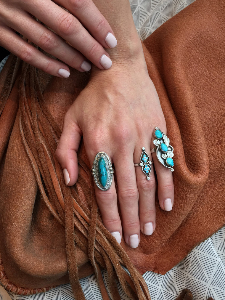 Silver and Turquoise Vintage Idylwild Statement Ring