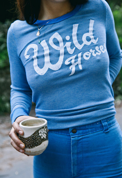 """Wild Horses"" Sky Blue Long Sleeve Thermal"