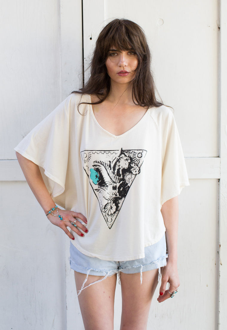 """Silver & Turquoise"" Poncho Tee"