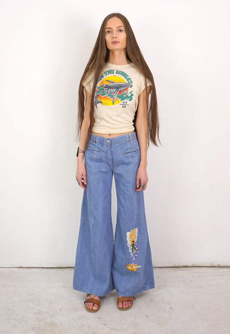 Epic 'Stoner' Embroidered Wide Leg Light Blue Jeans
