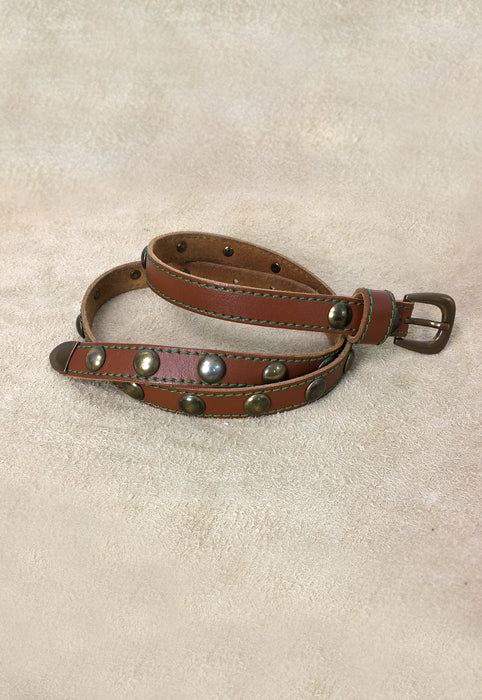 Skinny Dome Studded Italian Leather Belt