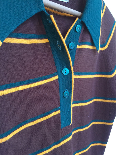 Late 1960's, Early 70's Brown, Green & Gold Woolworth's Striped Sweater Dress