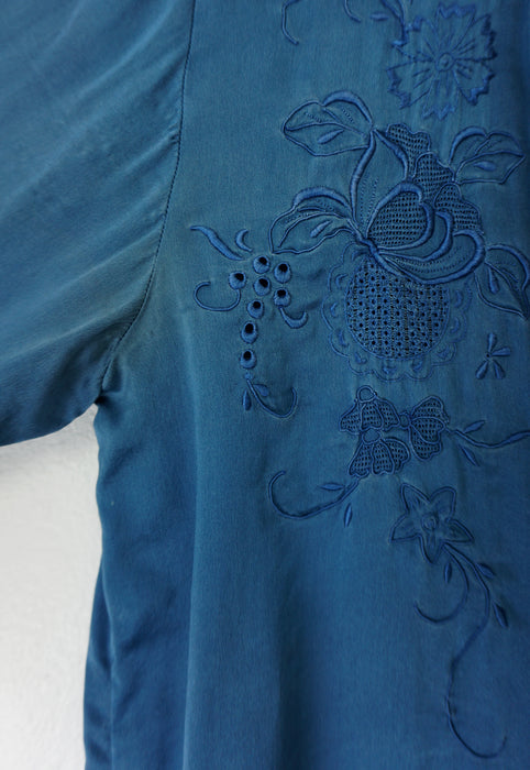 Vintage French 100% Silk Teal Blouse
