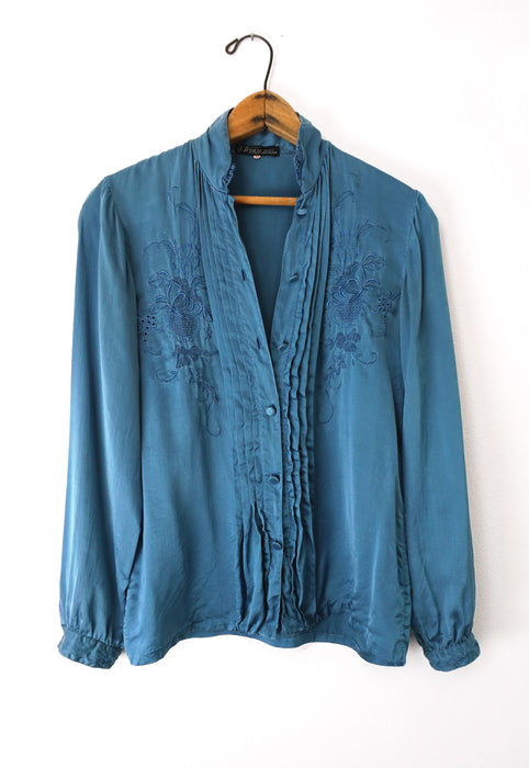 Idylwild Vintage French Silk Teal Blouse with Lace