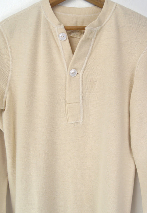 Vintage 70s US Army Cotton Wool Henley Long Sleeve Shirt