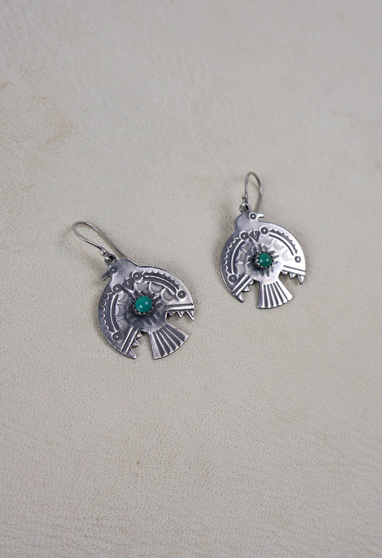 Flat Sterling Silver and Turquoise Thunderbird Earrings