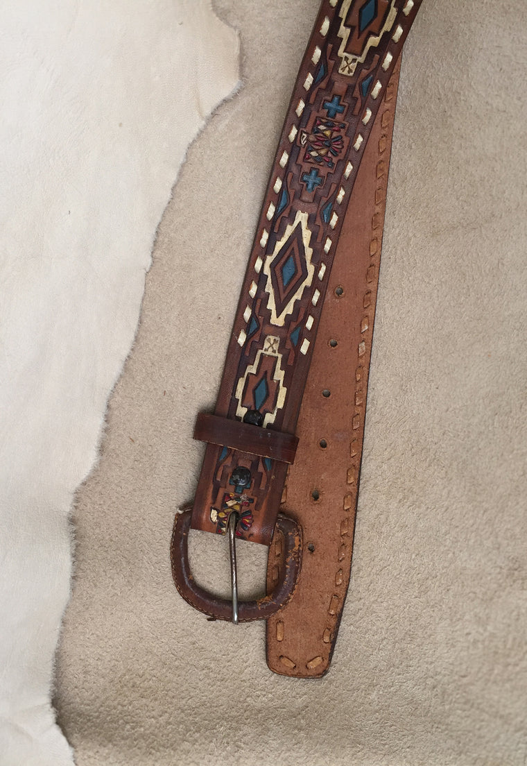 Thunderbird Hand Tooled & Painted Leather Buckstitch Belt
