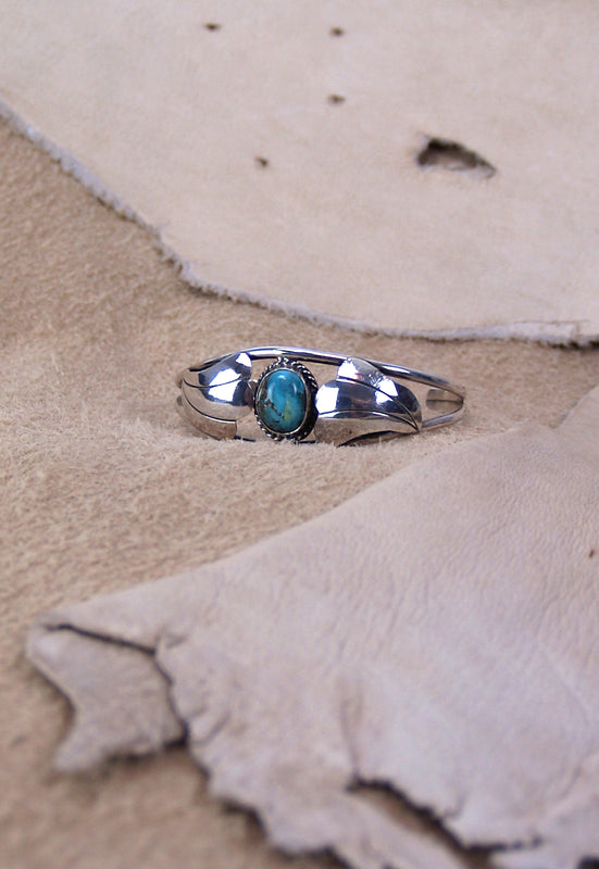 Vintage Native American Silver Turquoise Signed Cuff Bracelet