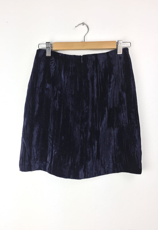 Rock N Roll Navy Crushed Velvet Mini Skirt