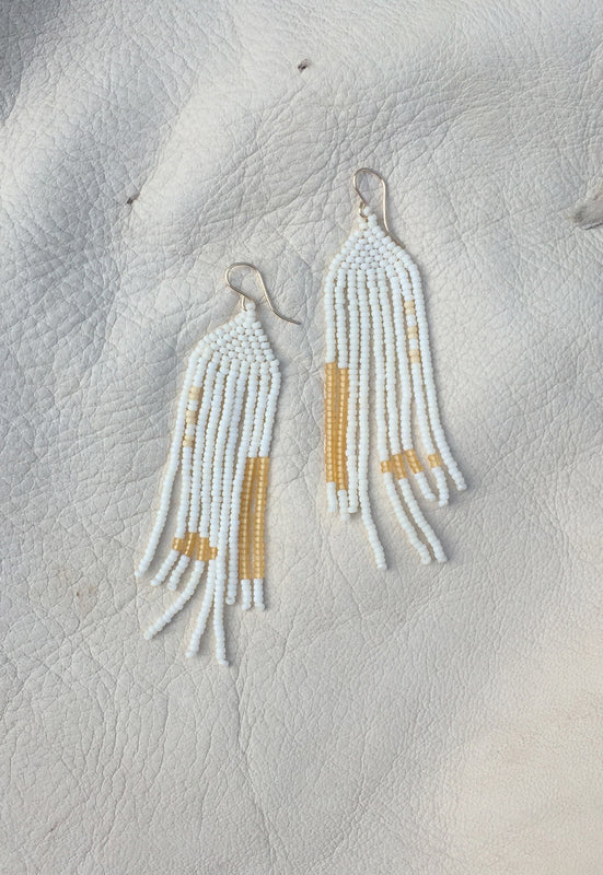 'Venture' Hand Beaded Earrings in 'Goldenrod'