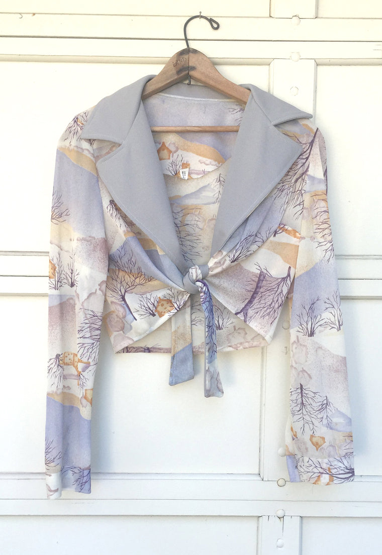 1970's Tie Front, Sheer, Crop Blouse with Winter Scene