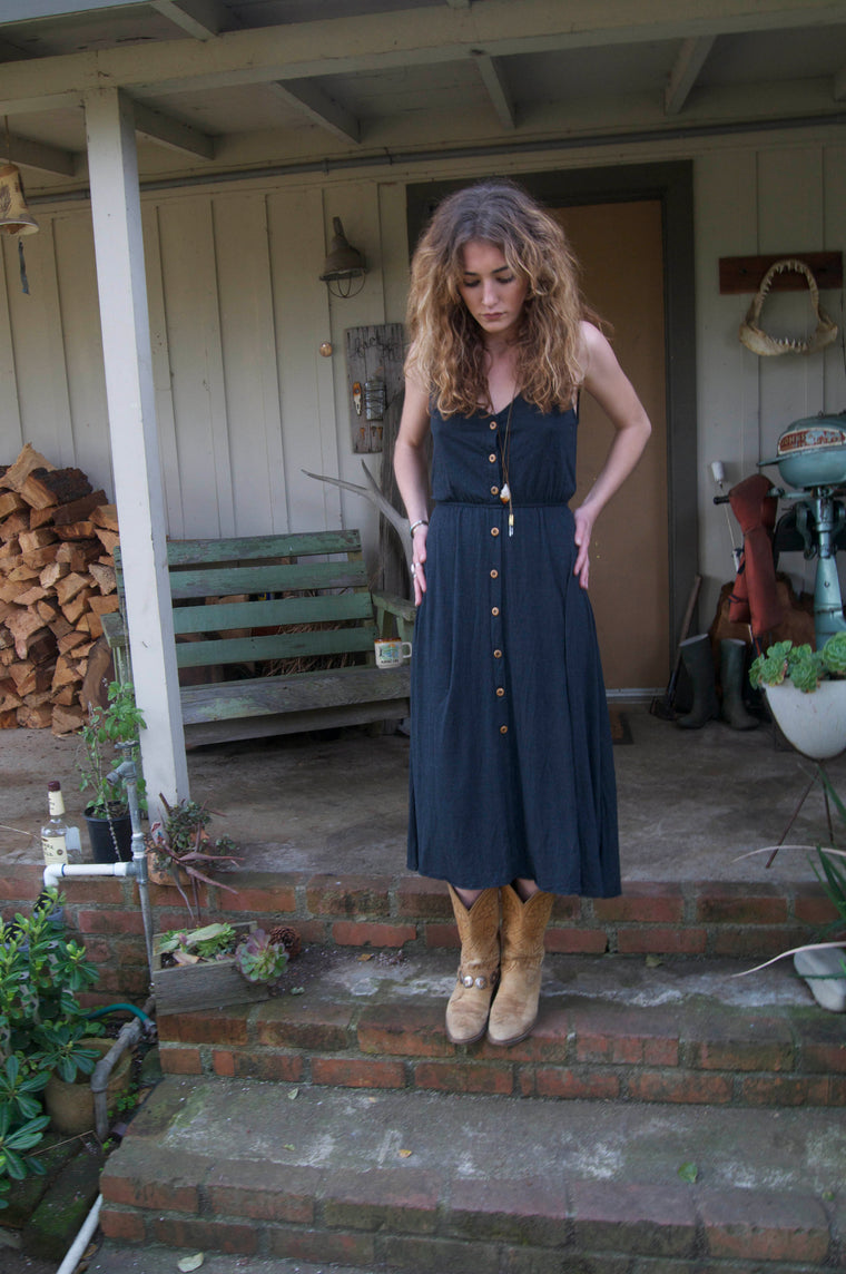 Wooden Buttons Midi Dress