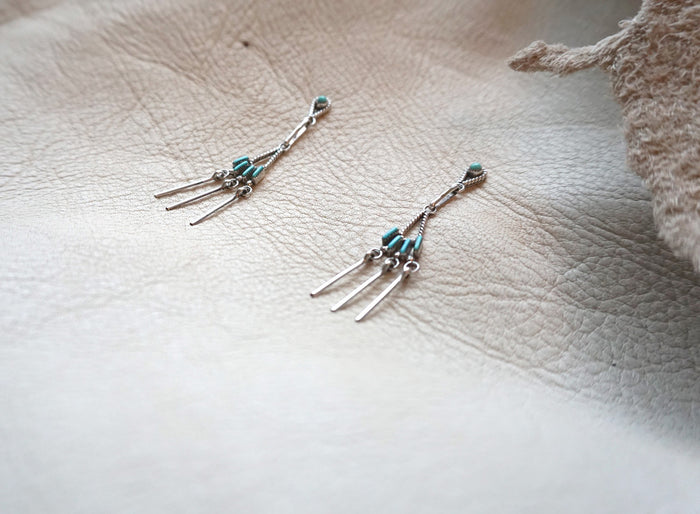 Vintage Zuni Needlepoint Sleeping Beauty Turquoise Sterling Silver Dainty Native American Earrings
