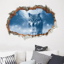 Load image into Gallery viewer, 3d effect window Wolf Wall Stickers Forest Birds DIY Animal Wall Poster for Kids Rooms Living Room Bedroom Decoration Mural Art