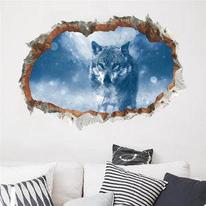 3d effect window Wolf Wall Stickers Forest Birds DIY Animal Wall Poster for Kids Rooms Living Room Bedroom Decoration Mural Art