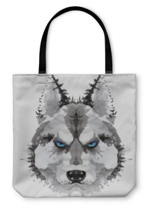 Tote Bag, Husky Dog Painted Watercolor Illustration