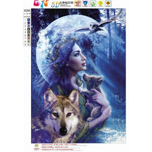Load image into Gallery viewer, DIY 5D Diamond Painting landscape Wolf girl Cross Stitch Mosaic diamond embroidery Needlework Patterns Rhinestone paintings