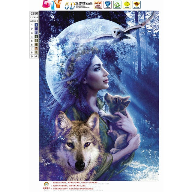 DIY 5D Diamond Painting landscape Wolf girl Cross Stitch Mosaic diamond embroidery Needlework Patterns Rhinestone paintings