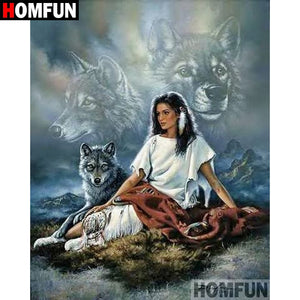 "HOMFUN 5D DIY Diamond Painting Full Square/Round Drill ""Indian wolf"" Embroidery Cross Stitch gift Home Decor Gift A09120"