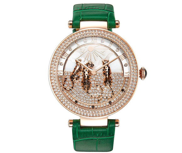 Lovely Leopards Decorated Women Crystals Watch