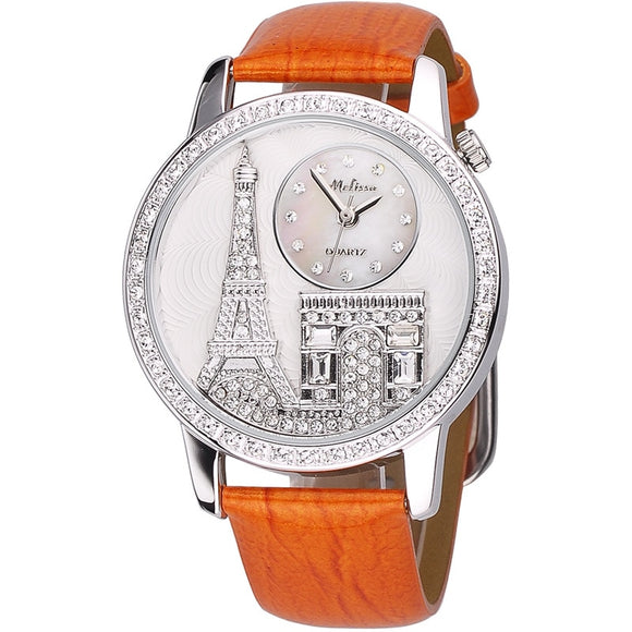 Melissa Crystal Eiffel Dress Watch 100% Real Leather