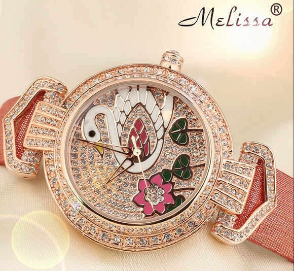 Melissa Full Crystals Swan Watch