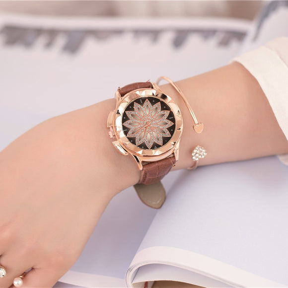 2018 Ladies Leather Strap Rhinestone Watch