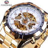 Forsining 2017 Silver Stainless Steel Waterproof Mens Skeleton Watch