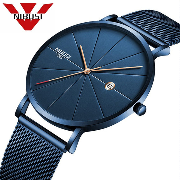 NIBOSI Men Blue Stainless Steel Ultra Thin Watch