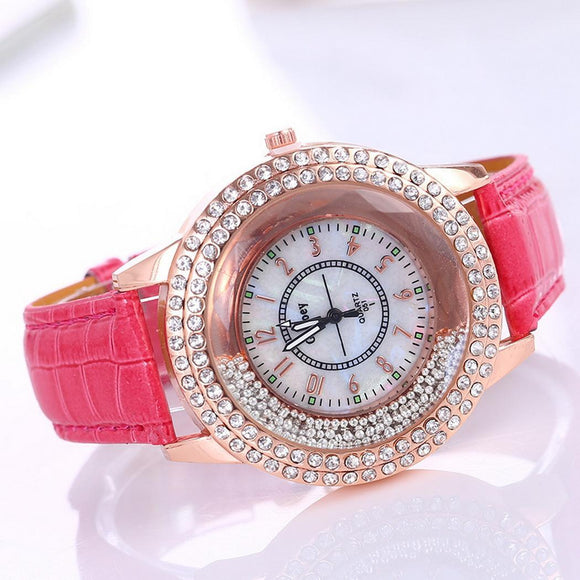 42mm 10mm Glass Women Watch Artificial Band Buckle Casual Leather