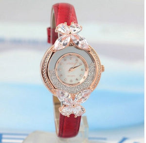 Melissa Rhinestone Jewel Watch Crystal Butterfly Leather