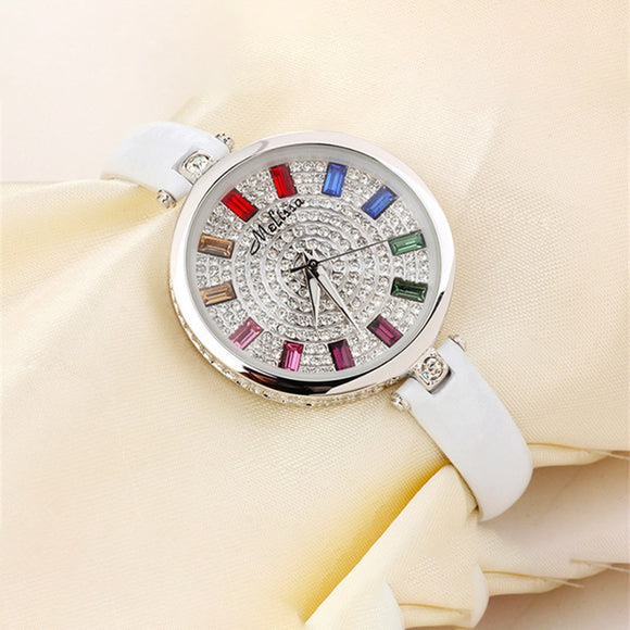 Melissa Gorgeous Jewelry Watch Real Leather