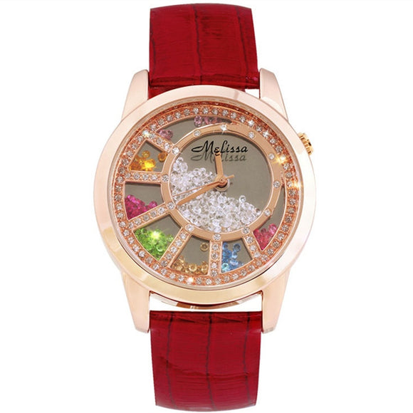Melissa Lovely Moving Crystals Women Dress Watch