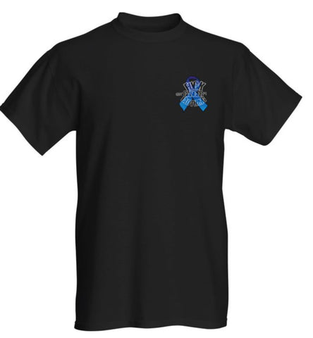 FU#K CANCER CLOTHING- BLUE RIBBON LOGO BLACK TEE