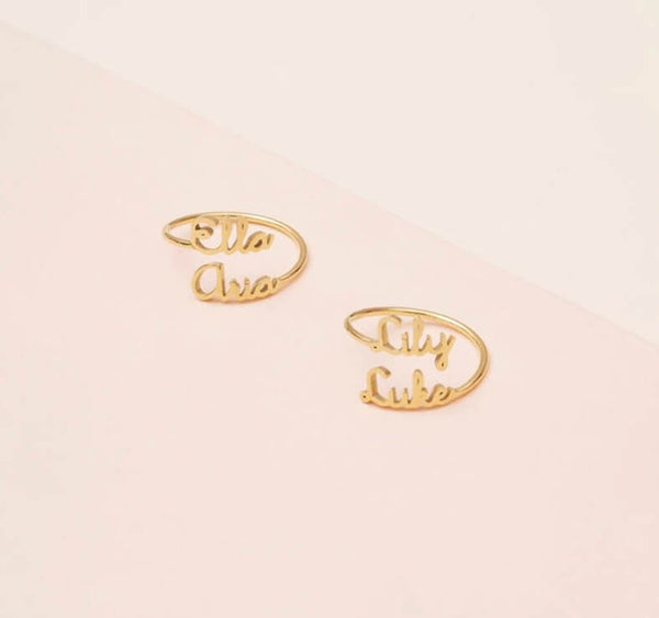 Personalized Custom Double Two 2 Name Ring Gold