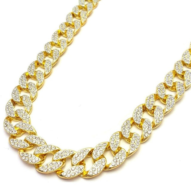 UWIN Crystal Golden Cuban Link Chain