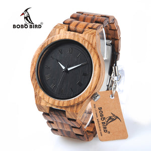BOBO BIRD M30 Zebra Wooden Quartz Watch With Wood Band