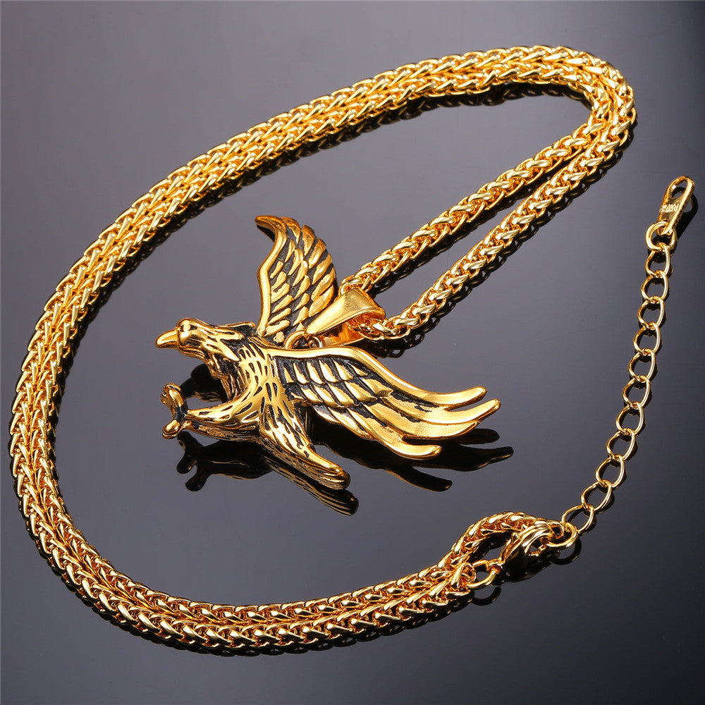 U7 Eagle Pendant Gold Plated /Stainless Steel Hawk