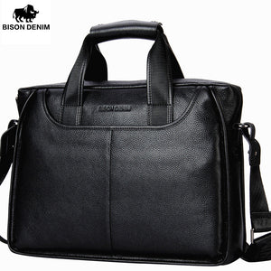 BISON DENIM Genuine Leather Briefcase