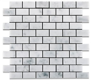 "Carrara White Marble Polished 1 X 2 Brick Mosaic Tile - 6"" X 6"" Sample"