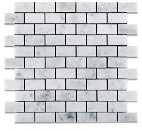 Carrara White Marble Polished 1 X 2 Brick Mosaic Tile - 6