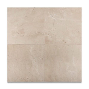 "Spanish Crema Marfil Marble Polished 12"" X 12""  Field Tile - 2 pcs. 3"" X 6"" Sample Set"