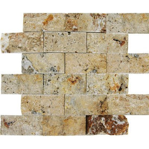 "Splitface Travertine Mosaic in Tuscany Scabas 12"" x 12"""
