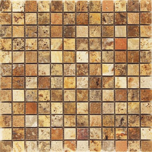 "Scabos POLISHED and Unfilled Travertine Mosaic 1x1 Tile - 6"" x 6"" Sample"