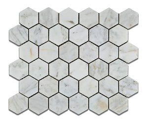 "White Carrara (Carrera) Bianco Venatino Hexagon Marble Honed 2"" X 2"" Mosaic Tiles"