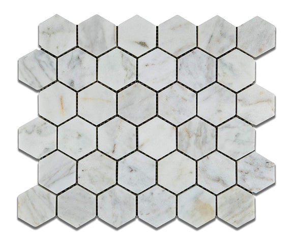 White Carrara (Carrera) Bianco Venatino Hexagon Marble Honed 2