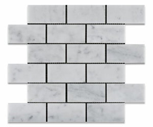 Carrara White Marble Polished 2 X 4 Brick Mosaic Tile - Lot of 50 sq. ft.