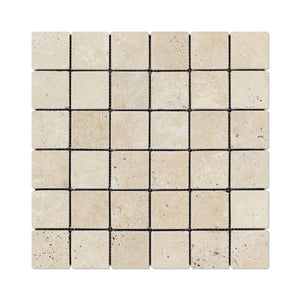 "Andean Vanilla Peruvian Travertine 2 X 2 Tumbled Mosaic Tile - 6"" X 6"" Sample"